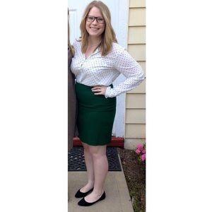 Forest green JCREW pencil skirt